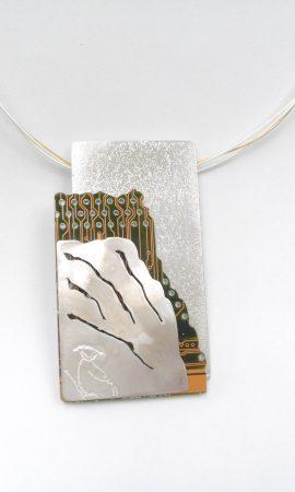Silver Circuit board pendant