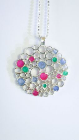 Circle&Square Blue/Pink pendant