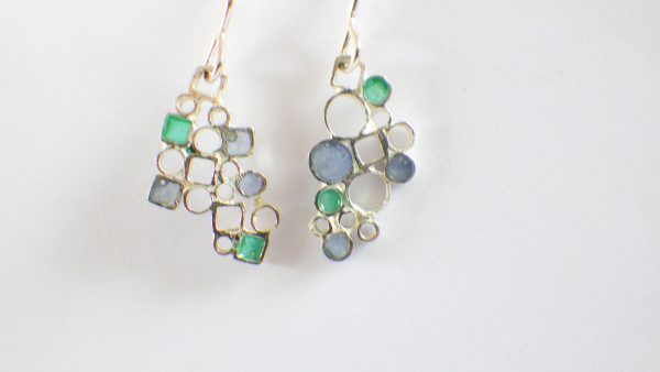 Circle&Square Blue/Green earrings