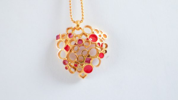 Circle&Square Gold Red/Pink pendant
