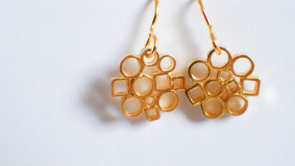 Circle&Square Gold earrings